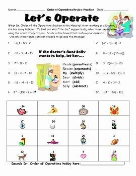 Order Of Operations Puzzle Worksheet Inspirational order Of Operation Puzzle Worksheet Game Fun Engaging