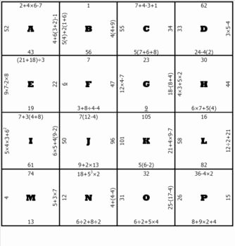 Order Of Operations Puzzle Worksheet Lovely order Of Operations Middle School Math Puzzle