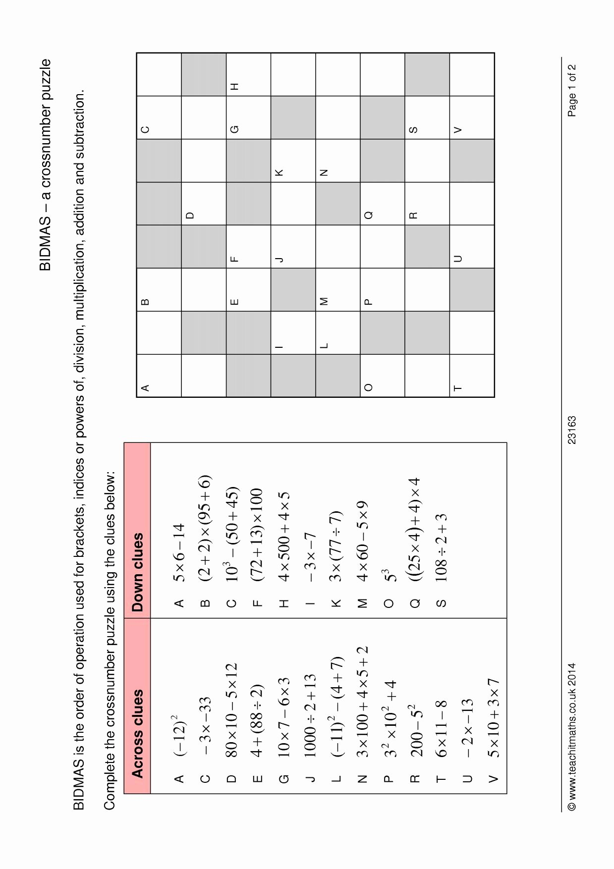 Order Of Operations Puzzle Worksheet New Bidmas – A Crossnumber Puzzle Number order Of