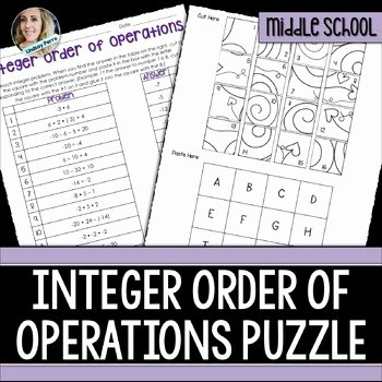 Order Of Operations Puzzle Worksheet New order Of Operations with Integers Puzzle by Lindsay Perro
