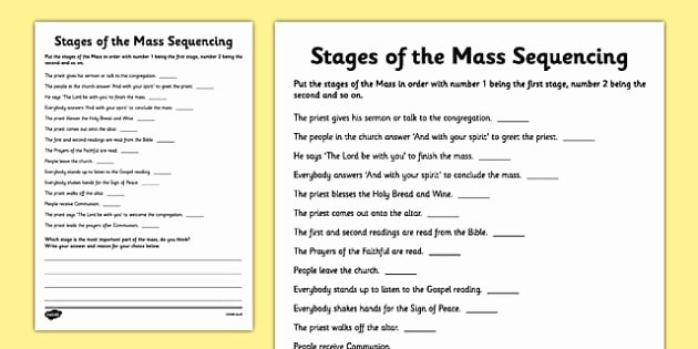 Order Of the Mass Worksheet Inspirational Stages Of the Mass Sequencing Worksheet Worksheet Mass