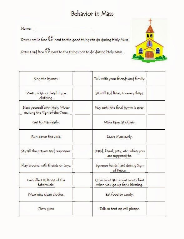 Order Of the Mass Worksheet Luxury the Catholic toolbox Behavior In Mass Worksheet