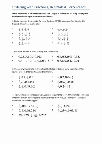 Ordering Fractions and Decimals Worksheet Best Of ordering Decimals Worksheet