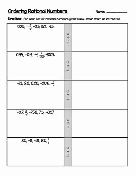 Ordering Fractions and Decimals Worksheet Lovely ordering Positive & Negative Rational Numbers Decimals