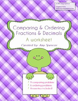 Ordering Fractions and Decimals Worksheet Luxury Paring and ordering Fractions and Decimals Worksheet