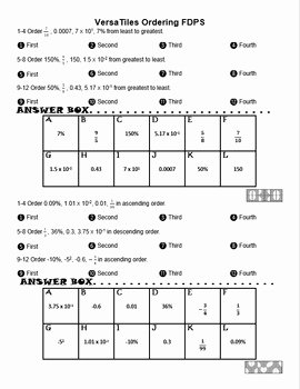 Ordering Fractions and Decimals Worksheet New ordering Rational Numbers for Versatiles sol 2016 7 1c 8