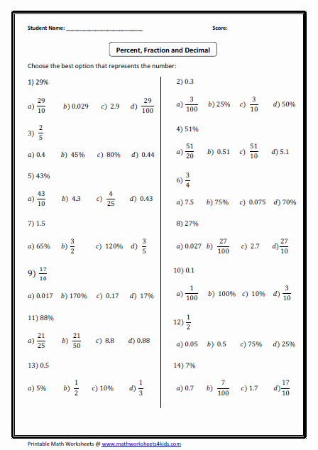 Ordering Fractions and Decimals Worksheet Unique Convert Between Fraction Decimal and Percent Worksheets