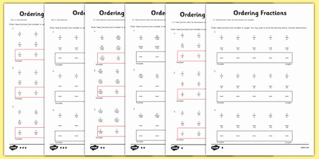 Ordering Fractions and Decimals Worksheet Unique Year 5 ordering Fractions Worksheet Worksheet Year 5