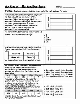 Ordering Rational Numbers Worksheet Awesome Working with Rational Numbers Paring ordering Percents
