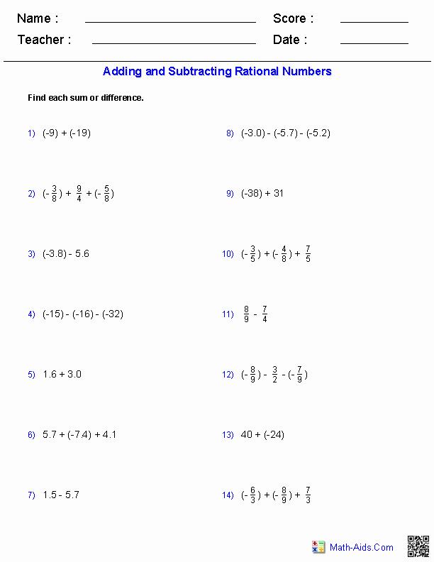Ordering Rational Numbers Worksheet Beautiful Algebra 1 Worksheets