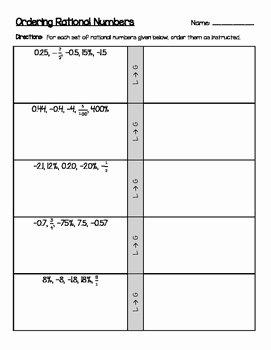 Ordering Rational Numbers Worksheet Best Of ordering Positive & Negative Rational Numbers Decimals