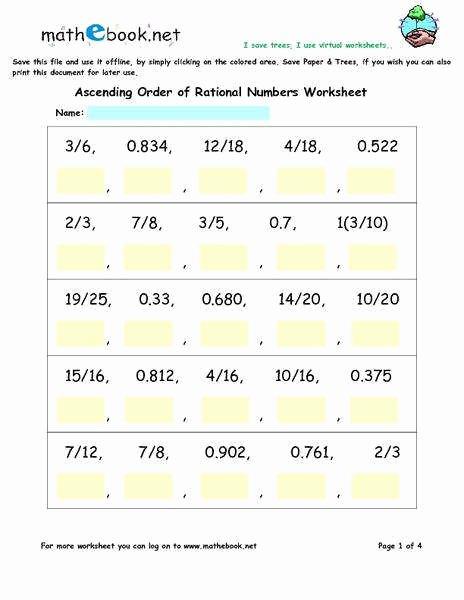 Ordering Rational Numbers Worksheet Elegant Rational Numbers Worksheet