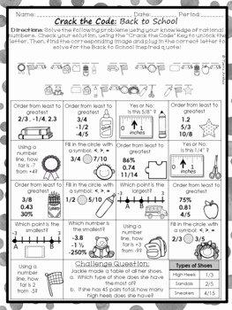 Ordering Rational Numbers Worksheet Fresh ordering Rational Numbers Back to School Activity by
