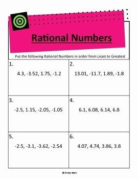 Ordering Rational Numbers Worksheet Inspirational Pare & order Rational Numbers Decimals by All Star