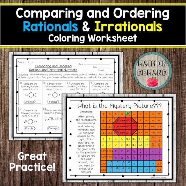 Ordering Rational Numbers Worksheet Inspirational Paring and ordering Rationals & Irrationals Coloring