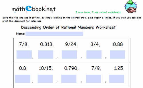 Ordering Rational Numbers Worksheet Lovely Know that there are Numbers that are Not Rational and