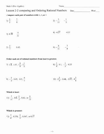 Ordering Rational Numbers Worksheet Unique Dividing Paring and ordering Rational Numbers