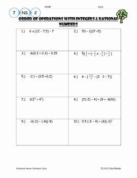 Ordering Rational Numbers Worksheet Unique order Of Operations with Rational Numbers Worksheet by