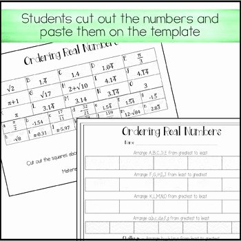 Ordering Rational Numbers Worksheet Unique ordering Real Numbers Activity Rational and Irrational