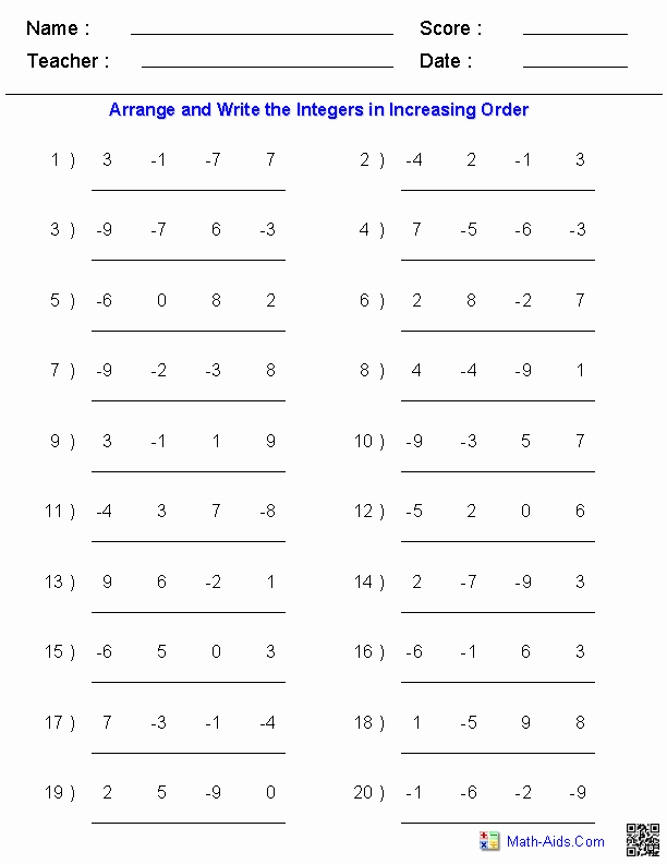 Ordering Real Numbers Worksheet Fresh Arranging order Of Integers Worksheets