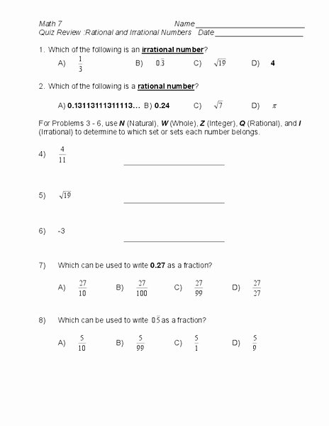Ordering Real Numbers Worksheet Inspirational Quiz Review Rational and Irrational Numbers Worksheet for