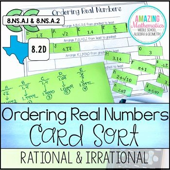 Ordering Real Numbers Worksheet Luxury ordering Real Numbers Activity Rational and Irrational