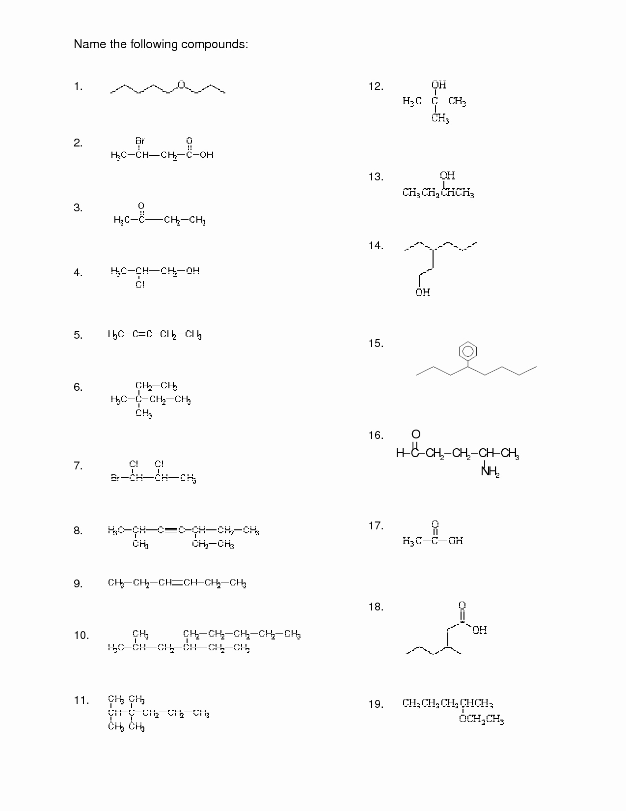 Organic Chemistry Worksheet with Answers Awesome 15 Best Of Naming Pounds Worksheet Key