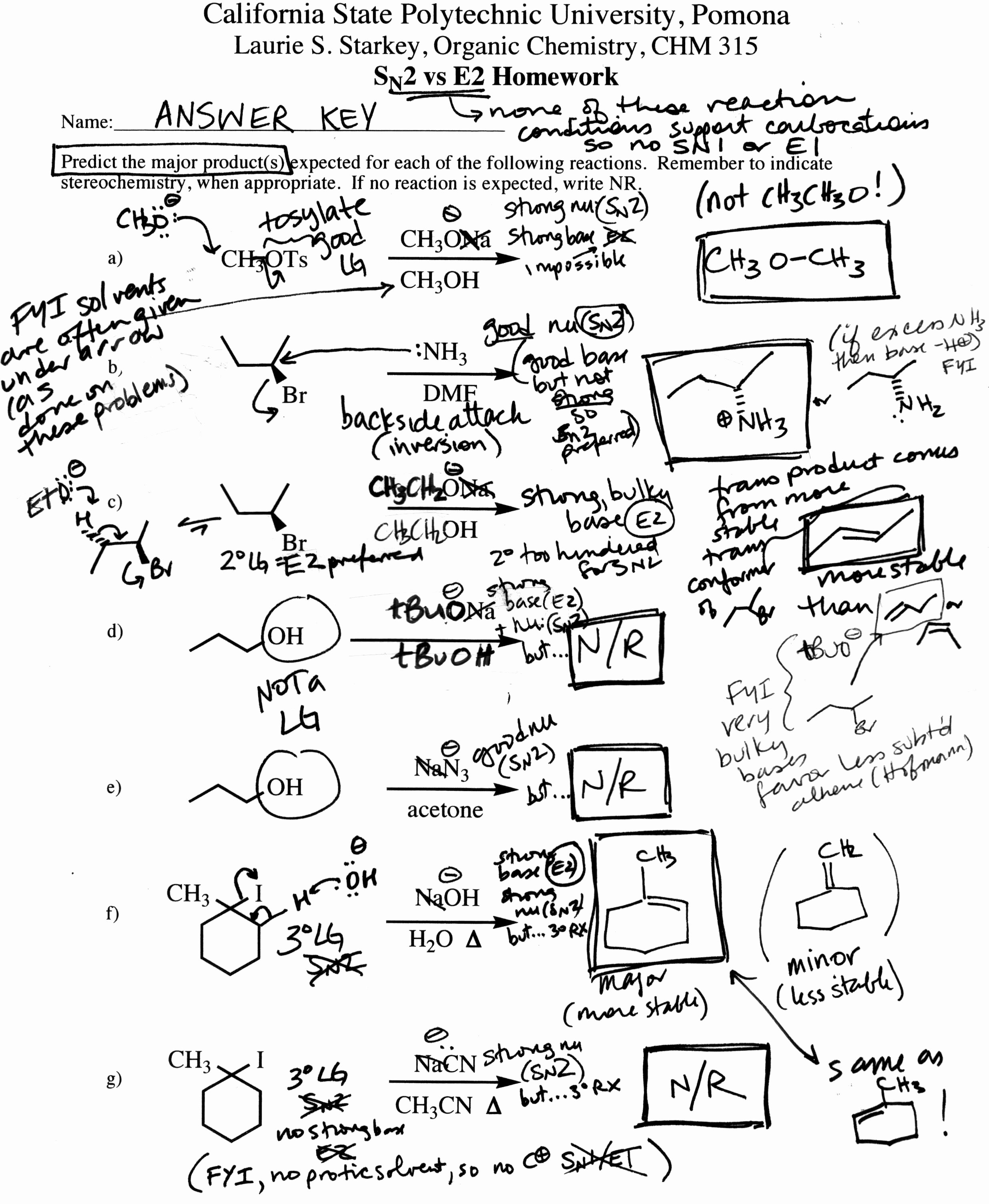 Organic Chemistry Worksheet with Answers Best Of Dr Starkey S Chm 315 organic Chemistry