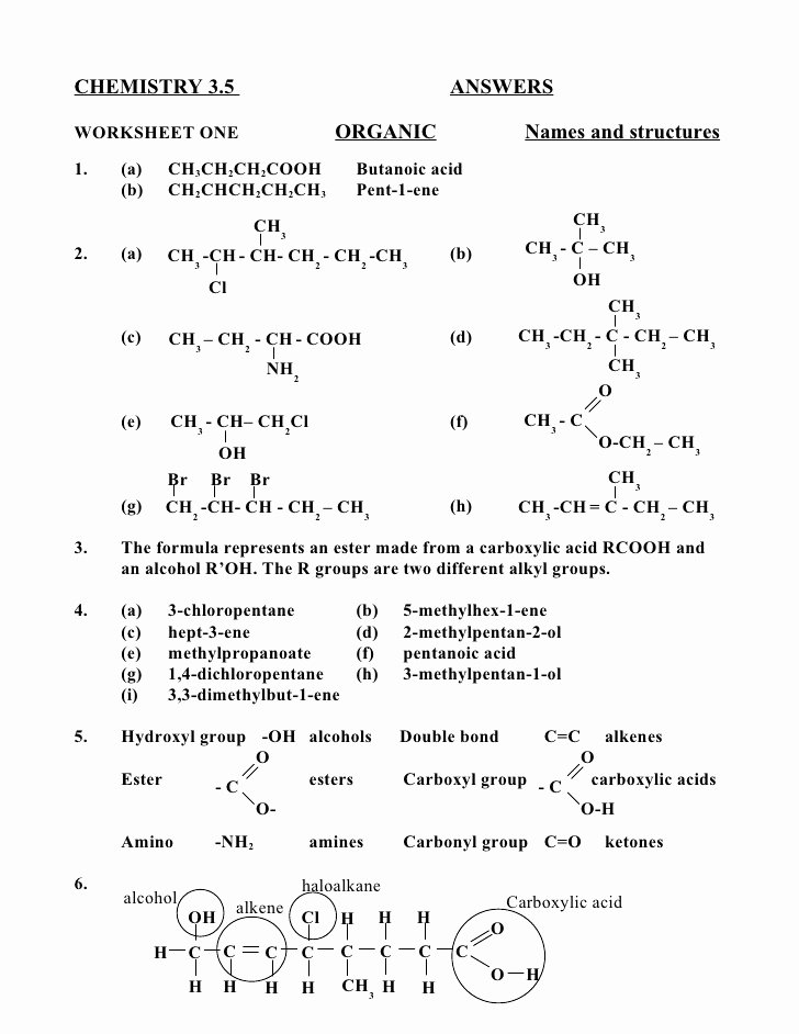 Organic Chemistry Worksheet with Answers Fresh Chem 3 5 Answers 1
