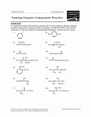 Organic Chemistry Worksheet with Answers Fresh organic Pounds Student Worksheet Answer Key Example