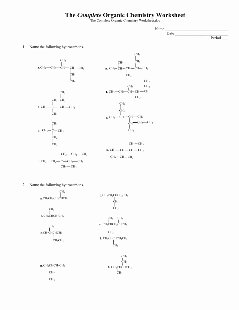 Organic Chemistry Worksheet with Answers Lovely the Plete organic Chemistry Worksheet