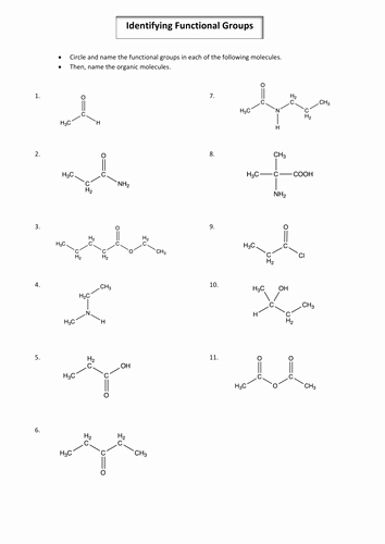 Organic Chemistry Worksheet with Answers New A2 Year 2 Chemistry Identifying organic Functional