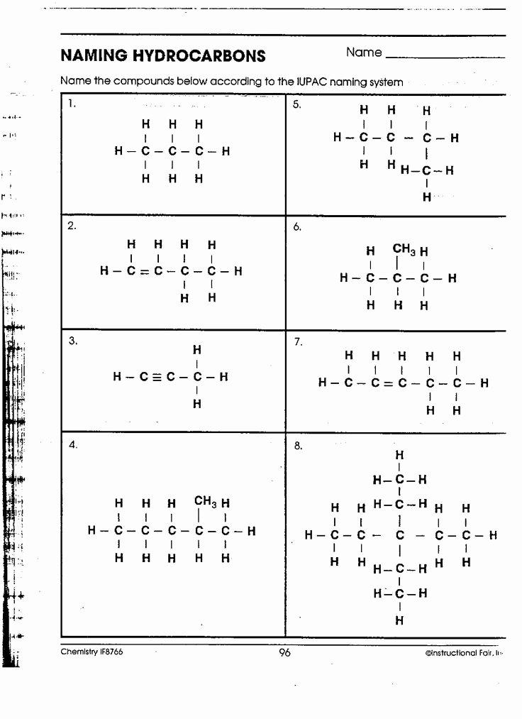 Organic Compounds Worksheet Answers Fresh organic Chemistry Nomenclature Worksheet