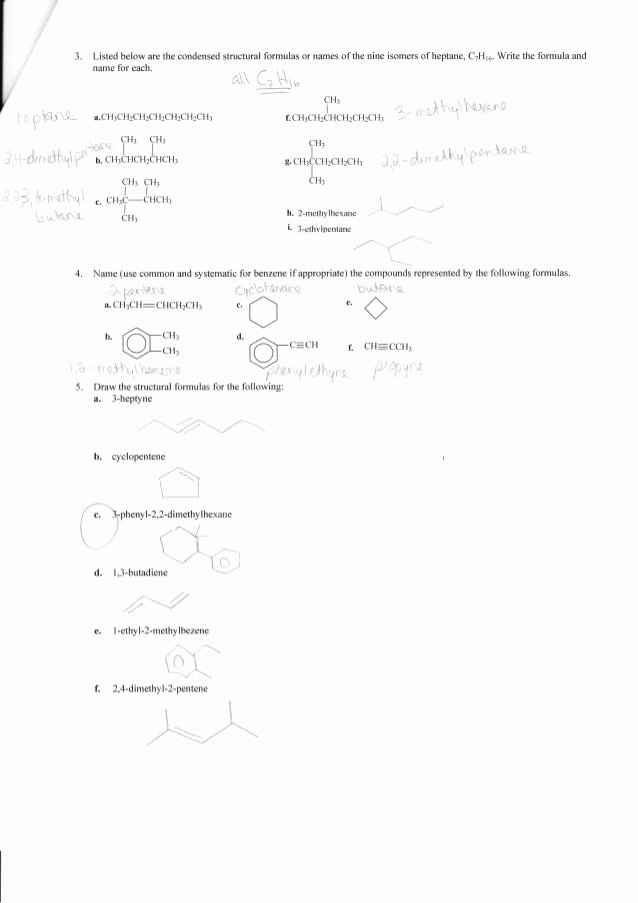 Organic Compounds Worksheet Answers Inspirational Plete organic Chemistry Worksheet Answers