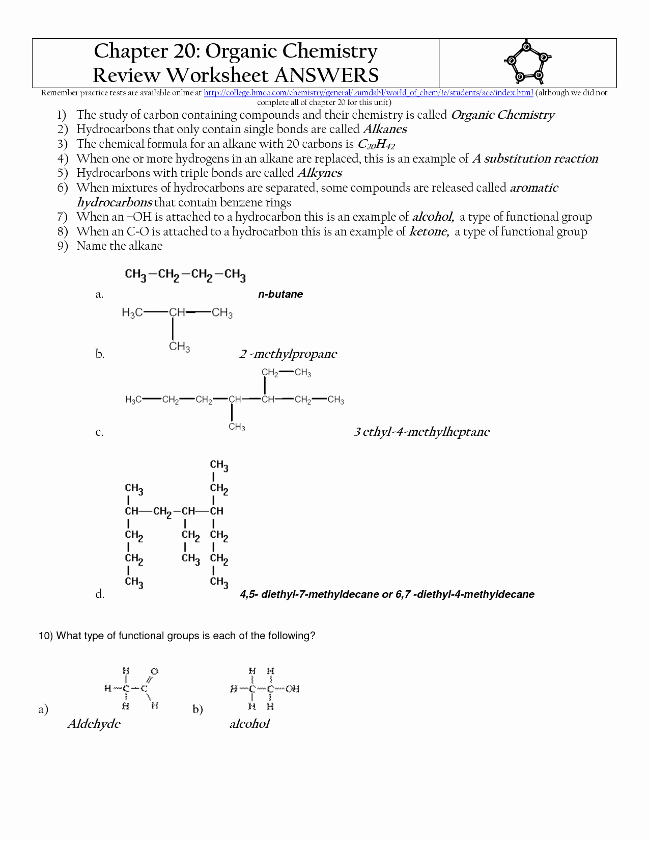 Organic Compounds Worksheet Answers Lovely 17 Best Of organic Pound Worksheet Answers