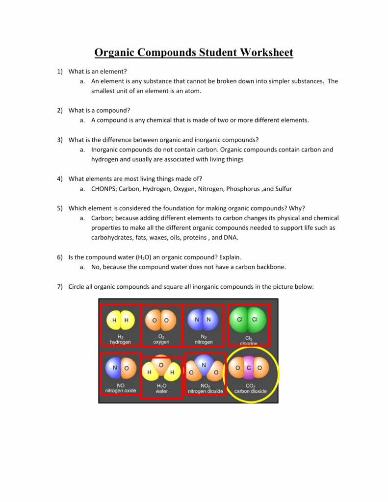Organic Compounds Worksheet Answers New organic Pounds Student Worksheet Answer Key Example