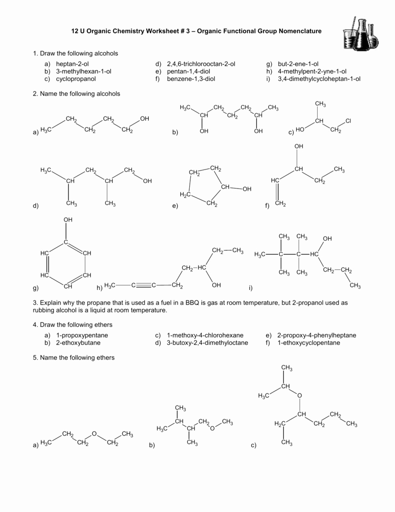 Organic Compounds Worksheet Answers Unique Functional Group Identification Worksheet Answers