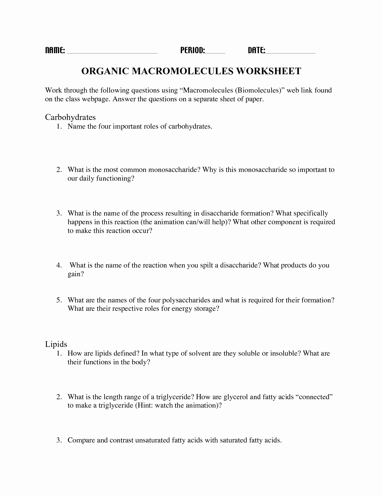 Organic Molecules Worksheet Answer Key Best Of 16 Best Of Carbohydrate Worksheet and Answers