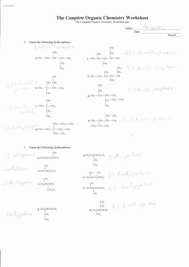 Organic Molecules Worksheet Answer Key Lovely Plete organic Chemistry Worksheet Answers