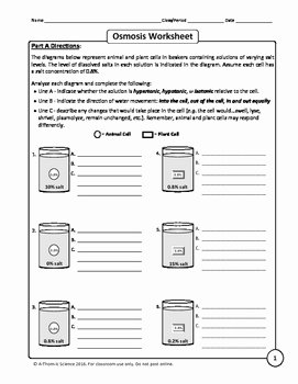 Osmosis and tonicity Worksheet Elegant Osmosis and tonicity Worksheet by A Thom Ic Science