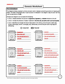 Osmosis and tonicity Worksheet Inspirational Osmosis and tonicity Worksheet by A Thom Ic Science