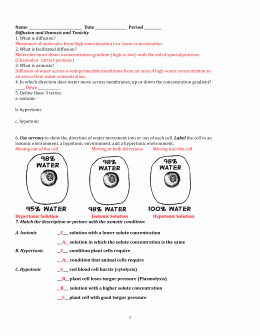 Osmosis and tonicity Worksheet Unique Cell Membrane & tonicity Worksheet