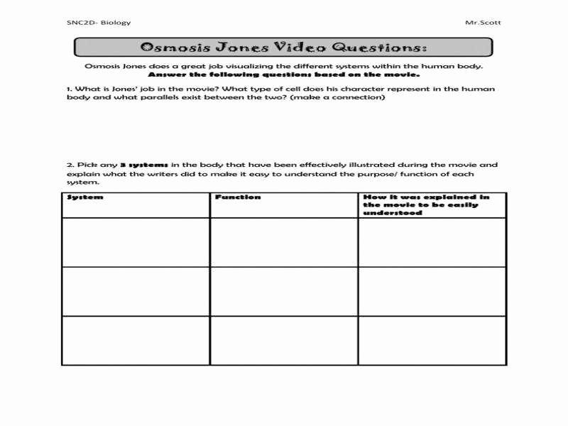 Osmosis Jones Movie Worksheet Fresh Osmosis Jones Worksheet Answers