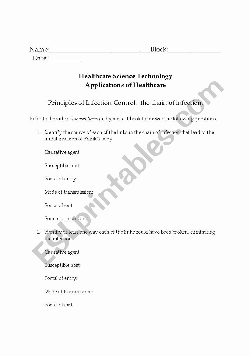 Osmosis Jones Video Worksheet Answers Elegant English Worksheets Chain Of Infection Osmosis Jones Video