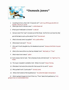 Osmosis Jones Worksheet Answer Key Awesome Osmosis Jones Movie Worksheet with Key by Biology Boutique