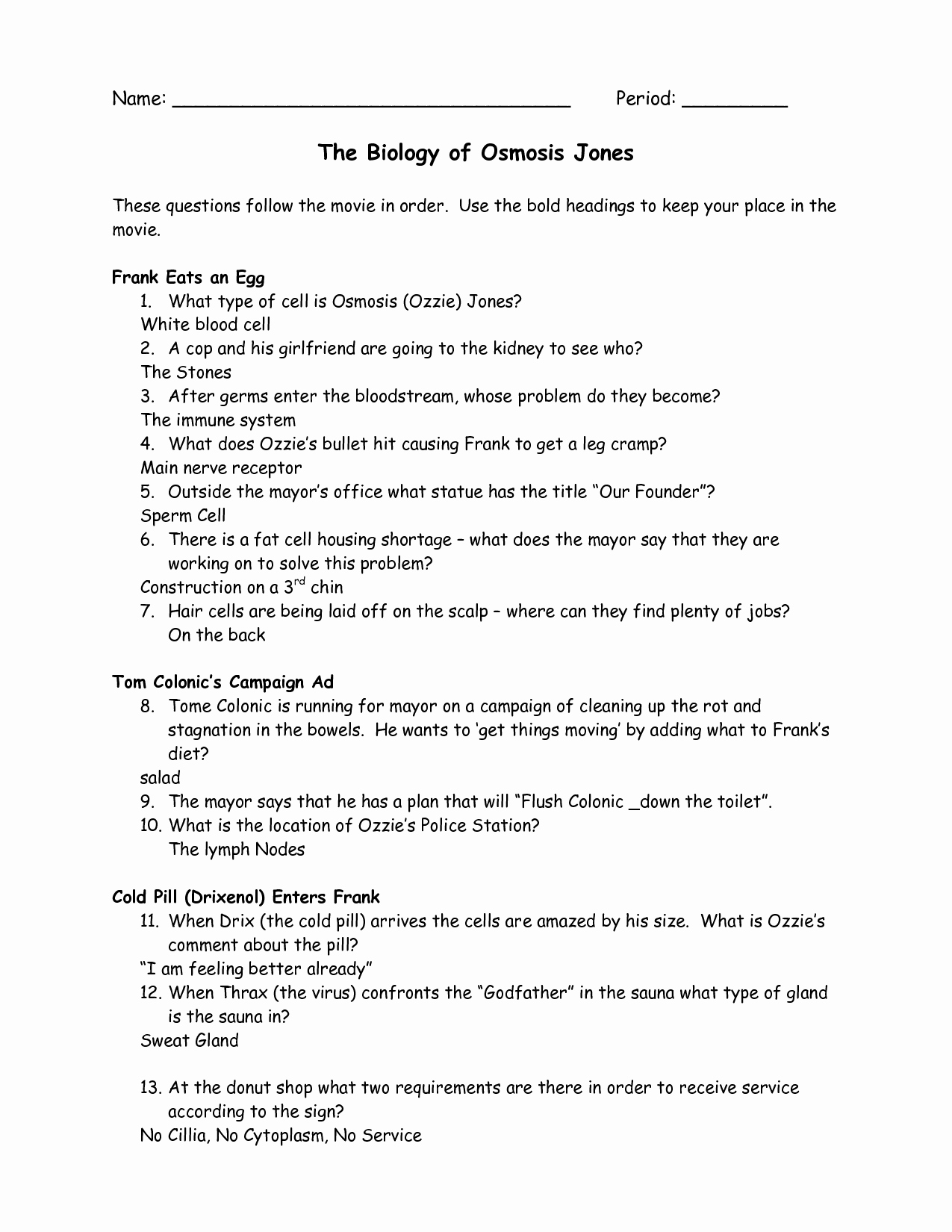 Osmosis Jones Worksheet Answer Key Beautiful Osmosis Jones Worksheet Answers Quizlet