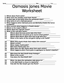 Osmosis Jones Worksheet Answer Key Elegant the Biology Osmosis Jones Worksheet Answer Key