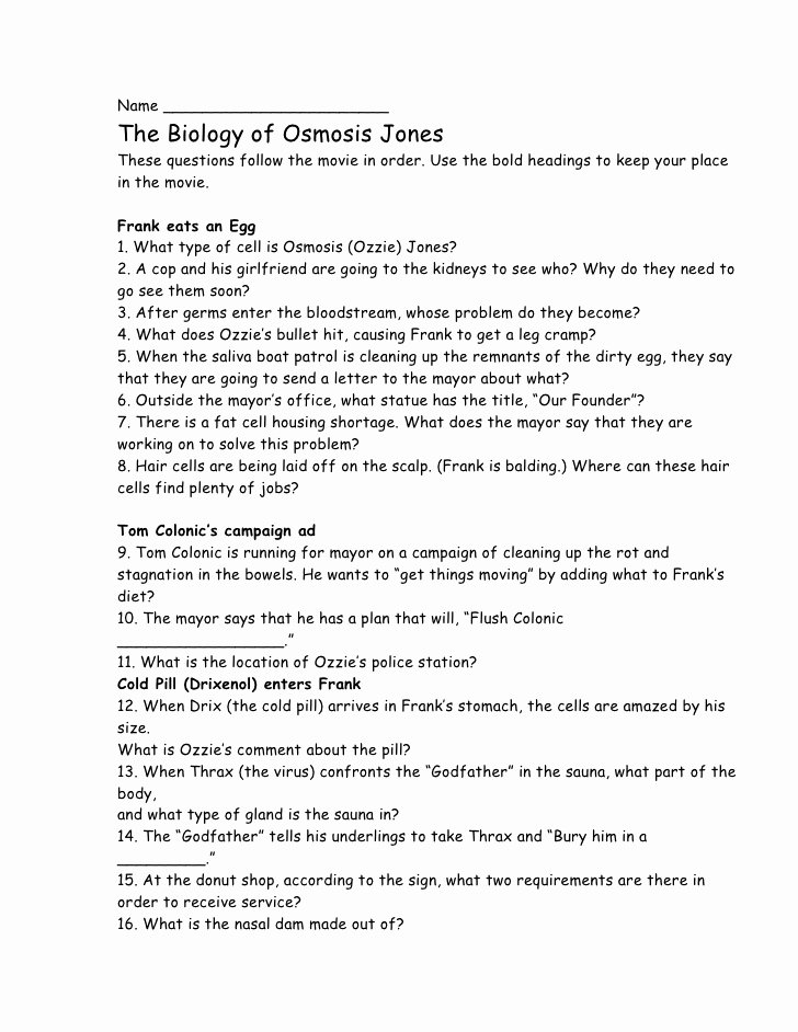 Osmosis Jones Worksheet Answer Key Fresh Osmosis Jones