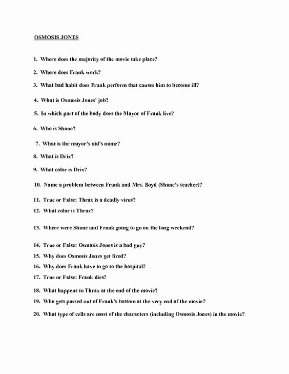 Osmosis Jones Worksheet Answer Key Inspirational Movie Quiz Osmosis Jones Worksheet