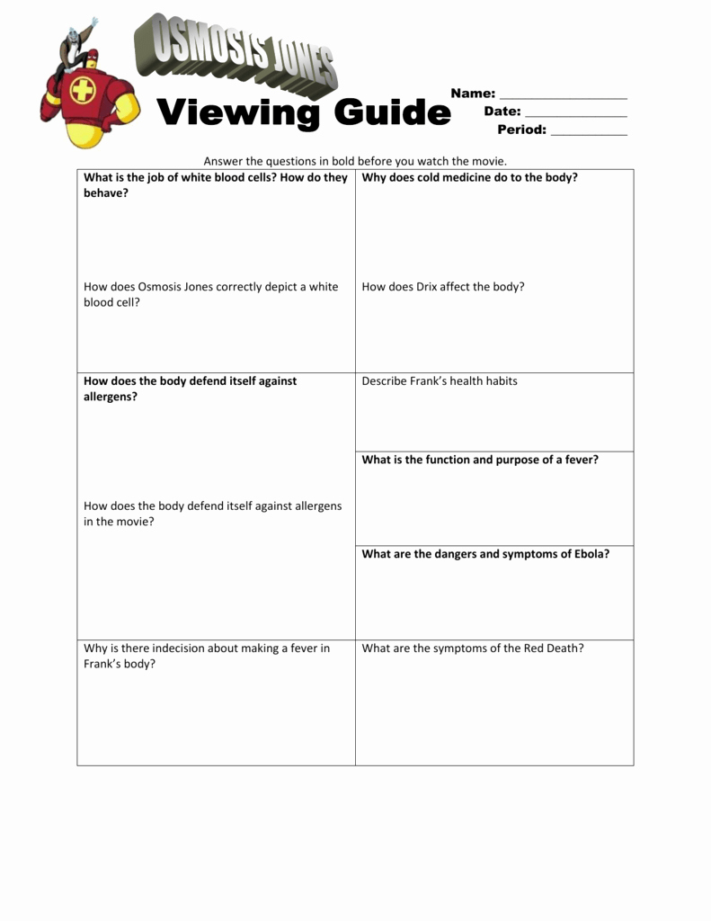 Osmosis Jones Worksheet Answer Key Lovely Osmosis Jones Viewing Guide